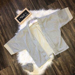Ann Taylor Loft Grey Sweatshirt Cardigan One Size